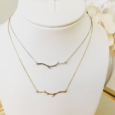 14K White or Yellow Gold Branch Leaf Twig Nature Layering Bar Necklace