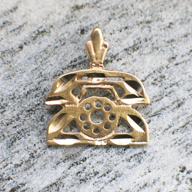 14K Yellow Gold Vintage Telephone Phone Rotary Dial Charm