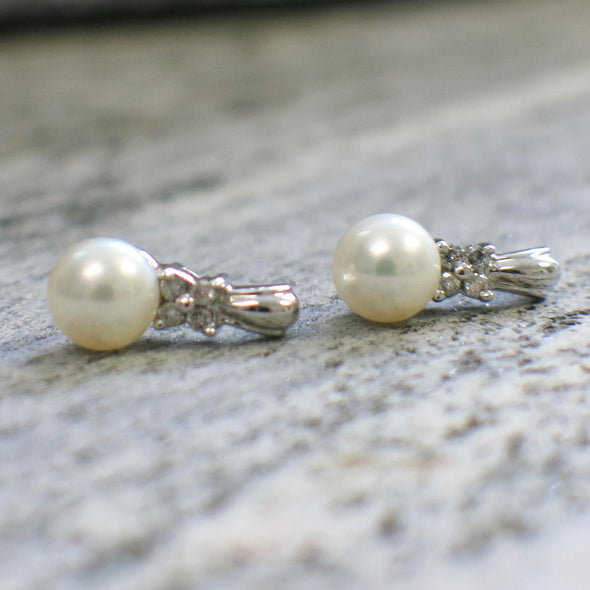 White Pearl and Diamond Floral 10K White Gold Earrings