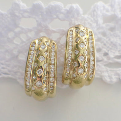 14K Yellow Gold Diamond Curved Screw Back Earrings