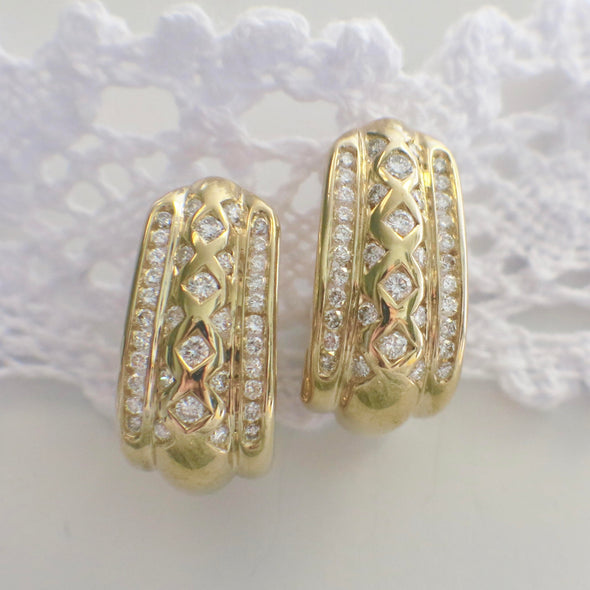 14K Yellow Gold Diamond Curved Screw Threaded Back Earrings