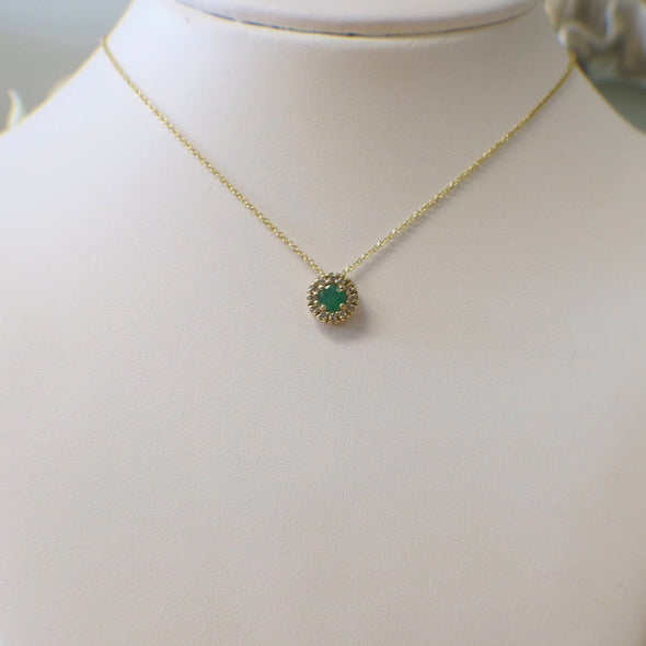 14K Yellow Gold Green Emerald and Diamond Halo Slide Pendant Necklace