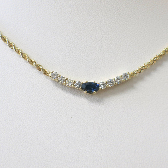 Oval Blue Sapphire and Round Brilliant Diamond 14K Yellow Gold Rope Chain Necklace