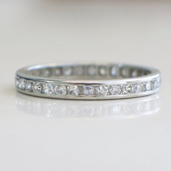 Platinum Vintage Diamond Channel Set Eternity Stackable Wedding Band Ring