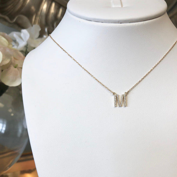 14K Letter Initial Diamond Necklace 16 Inch