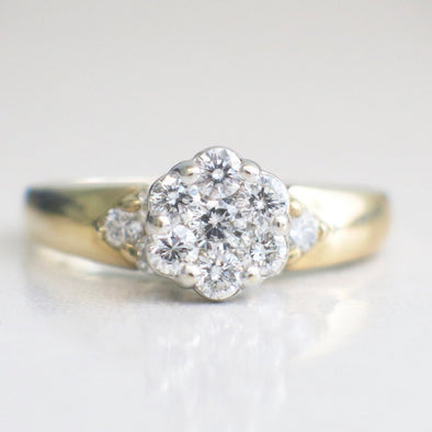 14K Vintage Diamond Cluster Flower Floral Ring Alternative Engagement Ring