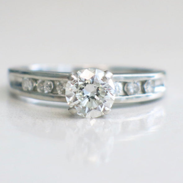 Vintage Platinum Diamond And Diamond Accented Engagement Ring