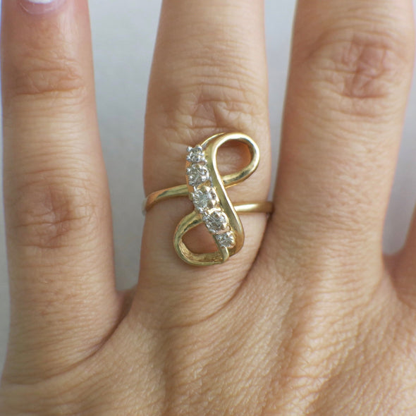 Vintage Diamond Infinity 14K Yellow Gold Ring