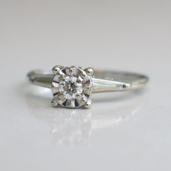 Diamond Solitaire Floral Flower 14K White Gold Engagement Ring