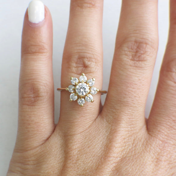 Vintage Floral Flower 14K Yellow Gold Round Brilliant Diamond Ring Alternative Engagement Ring