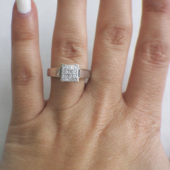 Princess Cut Cluster 14K White Gold Ring