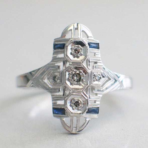 Art Deco Diamond and Sapphire 14K White Gold Ring