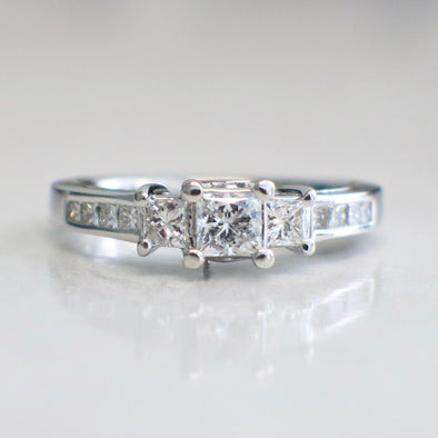 14K White Gold Princess Square Cut Three Stone Diamond Accented Engagement Ring