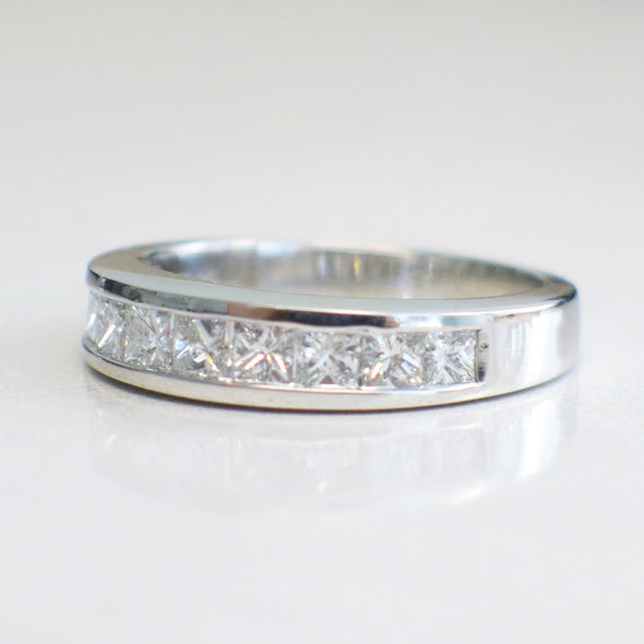 14K White Gold Channel Set Princess Cut Diamond Band Wedding Band Ring