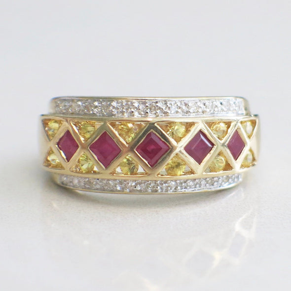 Princess Cut Ruby, Round Diamond and Citrine 14k Yellow Gold Band