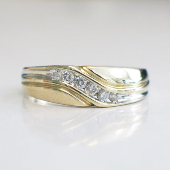 14K Yellow and White Gold Two Tone Diamond Men's Ring Wedding Band