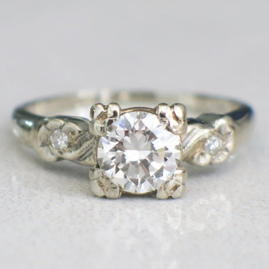 Vintage 14K White Gold Diamond with Diamond Accents Engagement Ring
