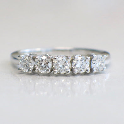 14K White Gold Five Stone Diamond Anniversary Band Ring