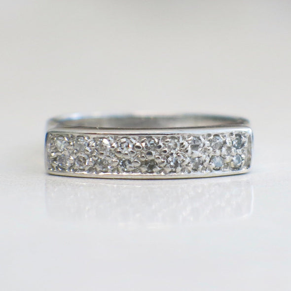 Single Cut Diamond Flat Bar Setting 14K White Gold Stackable Vintage Ring