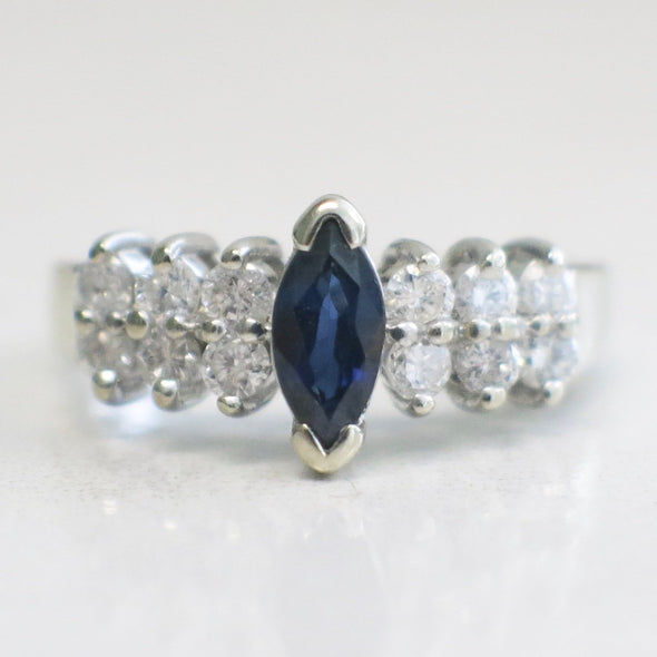 Blue Sapphire Marquise and Double Row Diamond 14K White Gold Ring