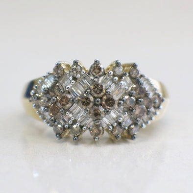 Champagne and White Diamond Cluster 10K Gold Ring