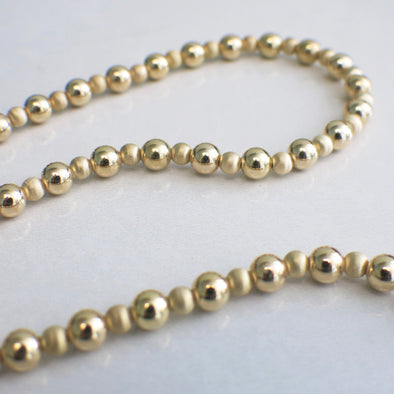 14K Yellow Gold Beaded Matte and Shine Necklace