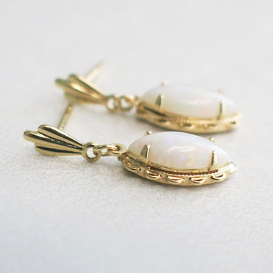 Marquise White Opal Dangle 14K Yellow Gold Earrings