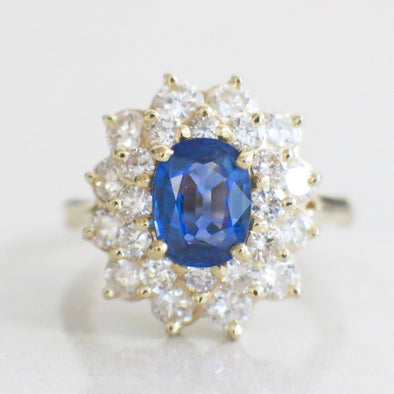 Oval Cut Blue Sapphire and Double Diamond Halo Floral Flower 14K Gold Ring With Extendable Shank