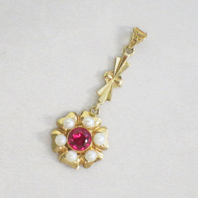 14K Vintage Pearl and Synthetic Pink Sapphire Dangle Pendant