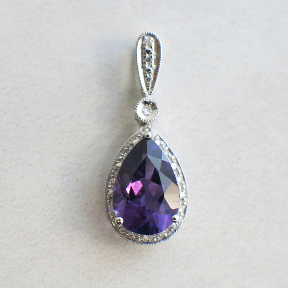 14k White Gold Amethyst Pear and Diamond Halo Dangle Pendant