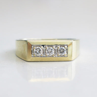 Vintage Three Stone Diamond 14K Yellow Gold Men's Ring