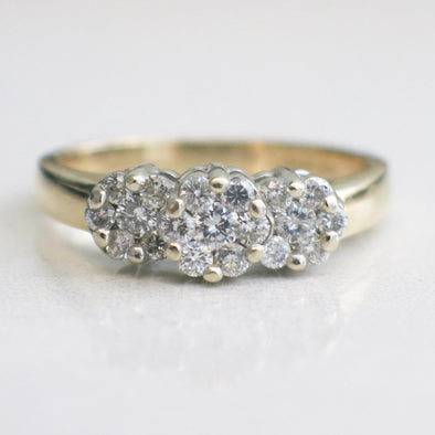 Vintage Floral 14K Yellow and White Gold Two Tone Cluster Ring Band