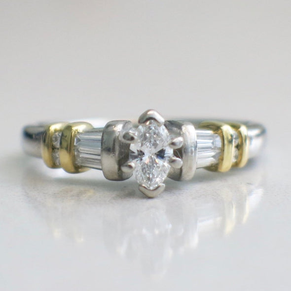 Vintage Platinum and 18K Yellow Gold Two Tone Marquise and Baguette Diamond Engagement Ring