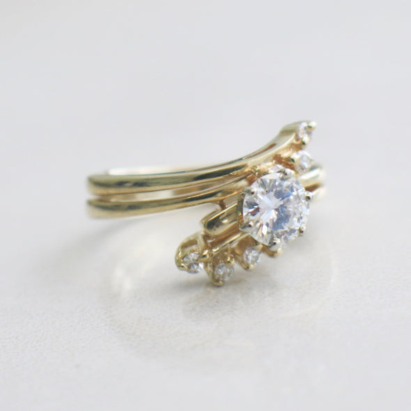 Vintage Diamond and Diamond Accented Double Band Engagement Ring