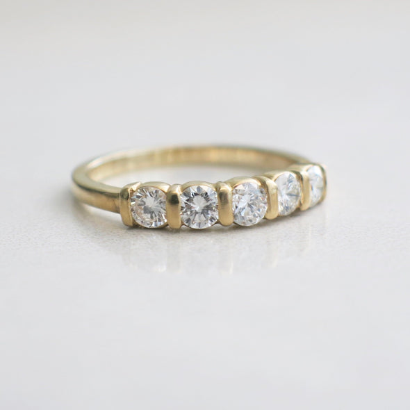Five Stone Diamond Bar Set 14K Gold Wedding Engagement Ring Band Stackable Band