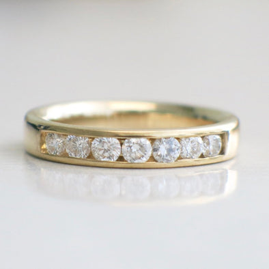 14K Yellow Gold Diamond Channel Set Band Wedding Ring