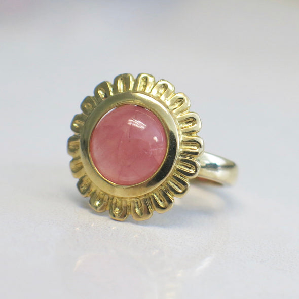 Vintage Pink Coral 14K Yellow Gold Floral Flower Ring