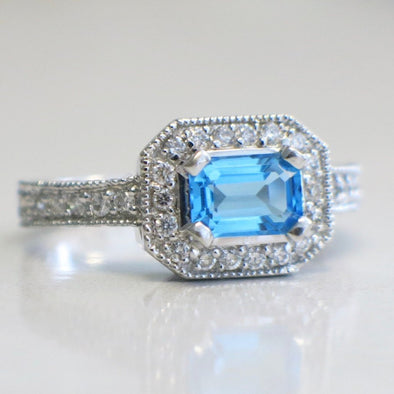 14K White Gold Emerald Cut Topaz and Diamond Ring