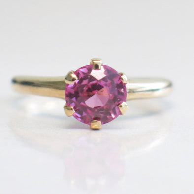 Vintage 14K Yellow Gold Pink Round Sapphire Solitaire Ring