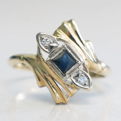 14K Yellow and White Two Tone Gold Princess Sapphire and Diamond Vintage Milgrain Ring