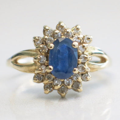 Vintage Oval Blue Tanzanite and Diamond Double Halo 14K Yellow Gold Cluster Ring