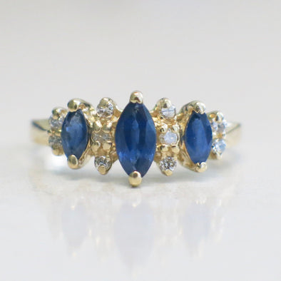 Sapphire Three Stone Marquise and Diamond Accented 14K Yellow Gold Ring