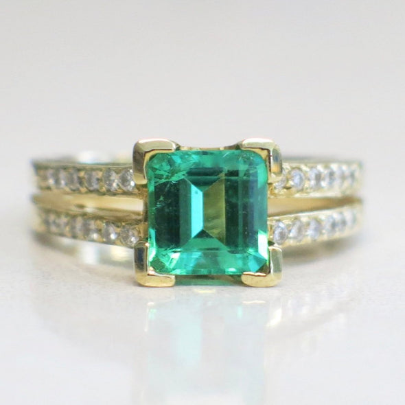 Synthetic Emerald and Diamond Accented Split Shank 14K Yellow Gold Ring