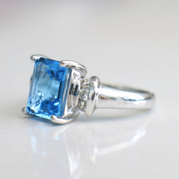 RESERVED*14K White Gold Emerald Cut Swiss Blue Topaz Diamond Accented Ring