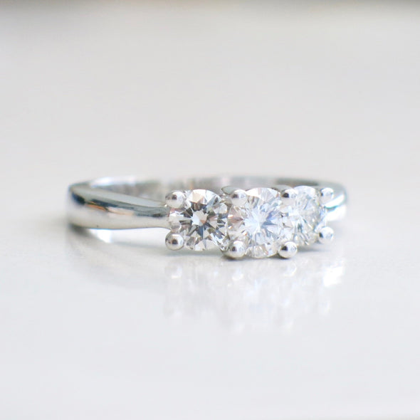14K White Gold Diamond Three Stone Engagement Ring