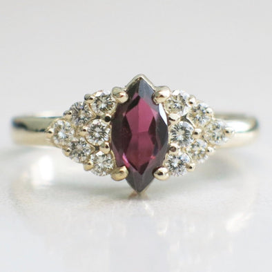 14K Yellow Gold Purple Garnet Marquise and Diamond Accented Ring