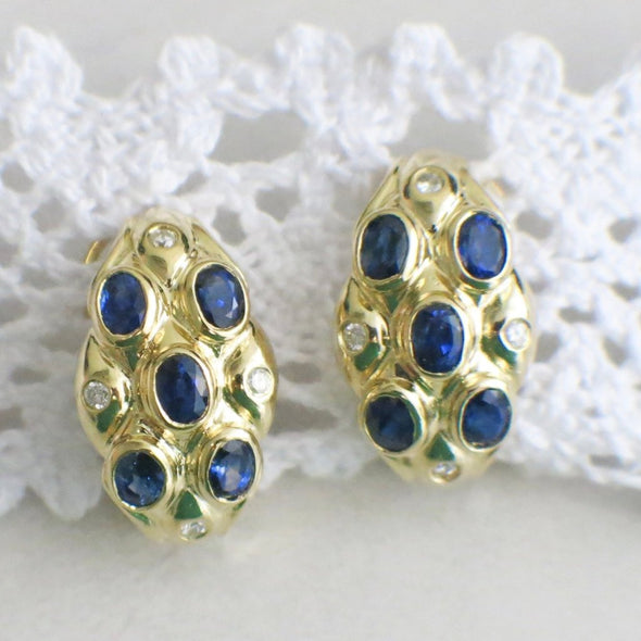 Oval Sapphire and Diamond 14K Yellow Gold French Back Earrings