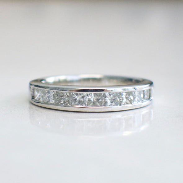 14K White Gold Princess Cut Channel Set Band Ring Wedding Band