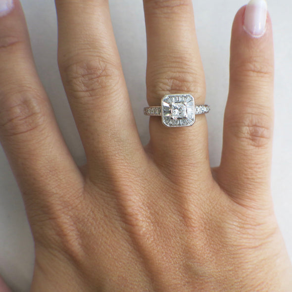Princess Cut Diamond Engagement Ring with a Baguette Halo and Diamond Accented Band
