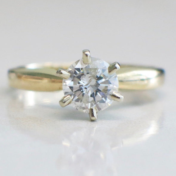 Solitaire .92 Diamond Engagement 14K Yellow Gold Ring